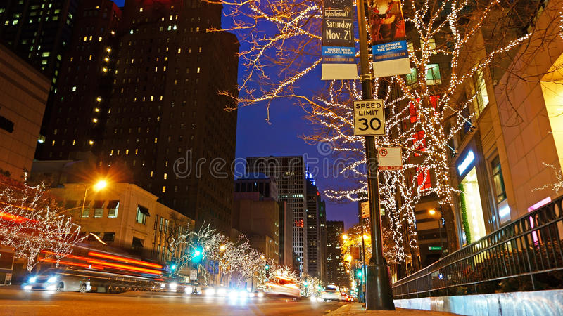 Christmas Decorations, Michigan Avenue, Chicago royalty free stock photos