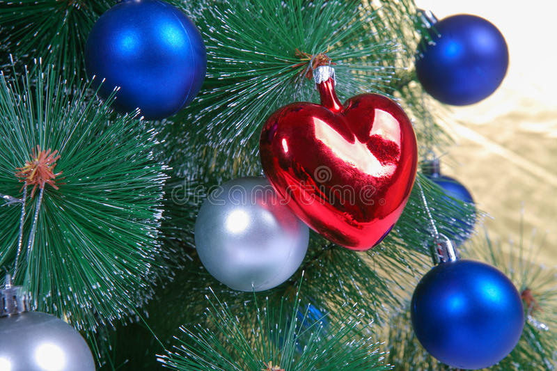 Download Christmas Decorations On A Christmas Tree Stock Photo - Image: 83711942