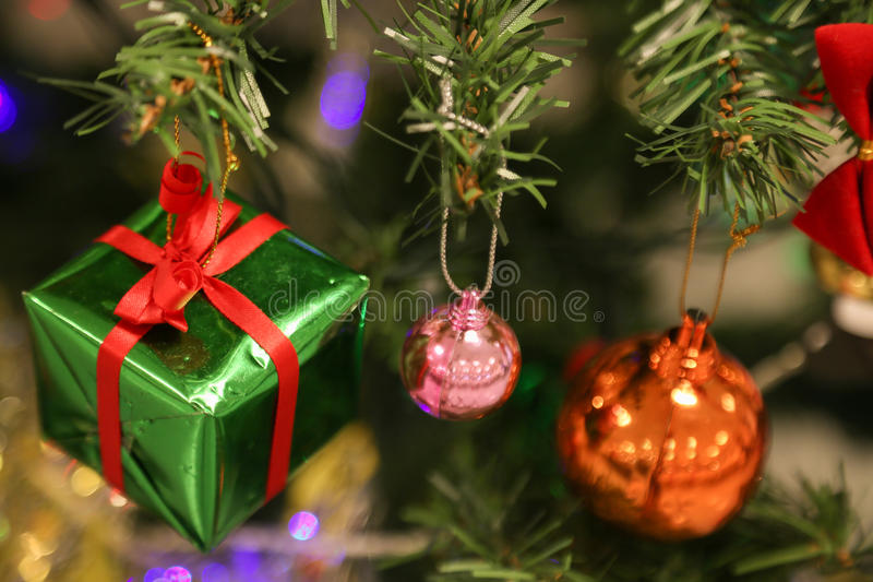 Christmas decorations or christmas tree light prepare for celebrate day, abstract Bokeh light good use for background. Christmas background and empty area for stock image