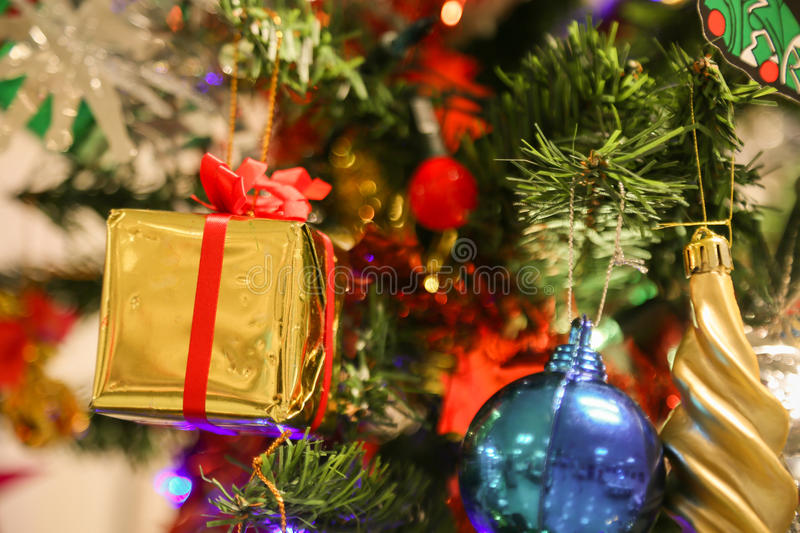 Christmas decorations or christmas tree light prepare for celebrate day, abstract Bokeh light good use for background. Christmas background and empty area for stock photos