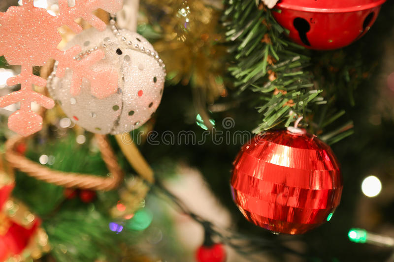 Christmas decorations or christmas tree light prepare for celebrate day, abstract Bokeh light good use for background. Christmas background and empty area for royalty free stock images
