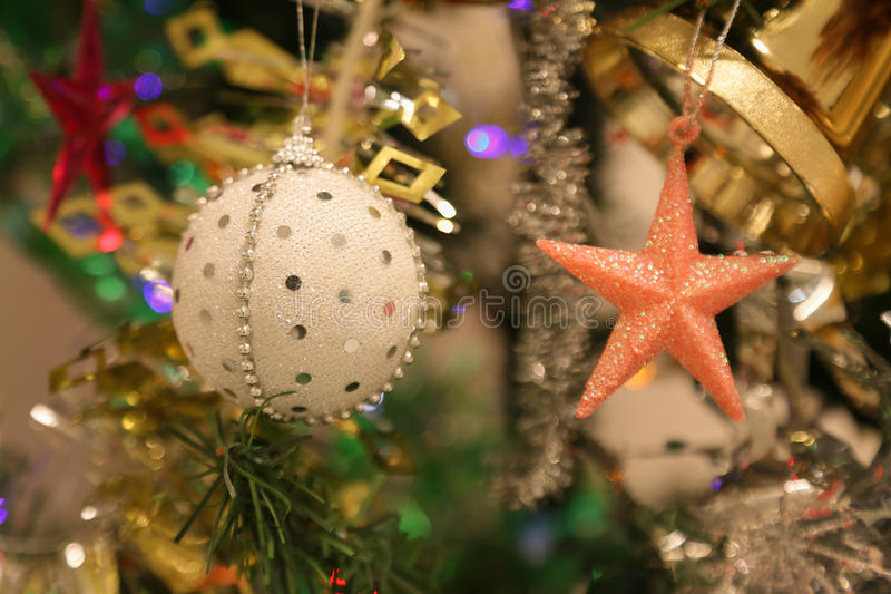 Christmas decorations or christmas tree light prepare for celebrate day, abstract Bokeh light good use for background. Christmas background and empty area for royalty free stock photography