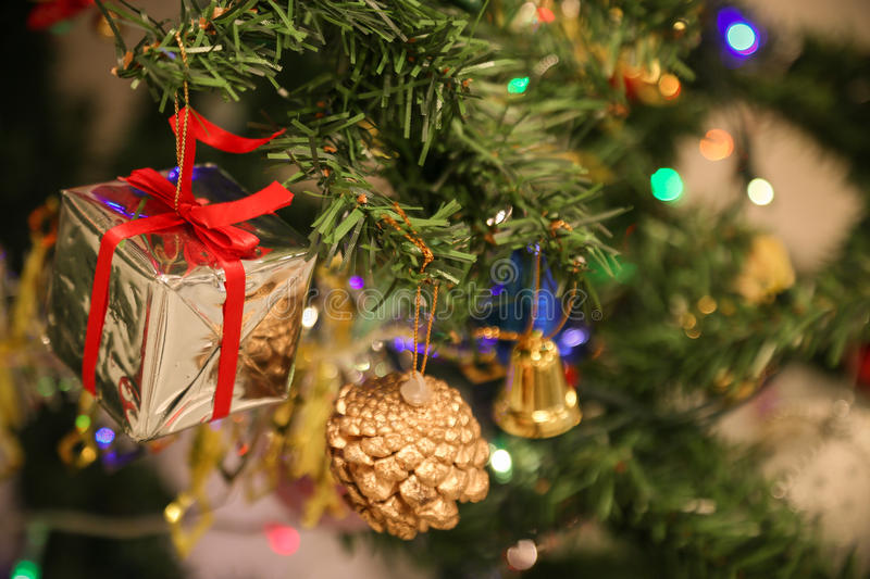 Christmas decorations or christmas tree light prepare for celebrate day, abstract Bokeh light good use for background. Christmas background and empty area for royalty free stock photo