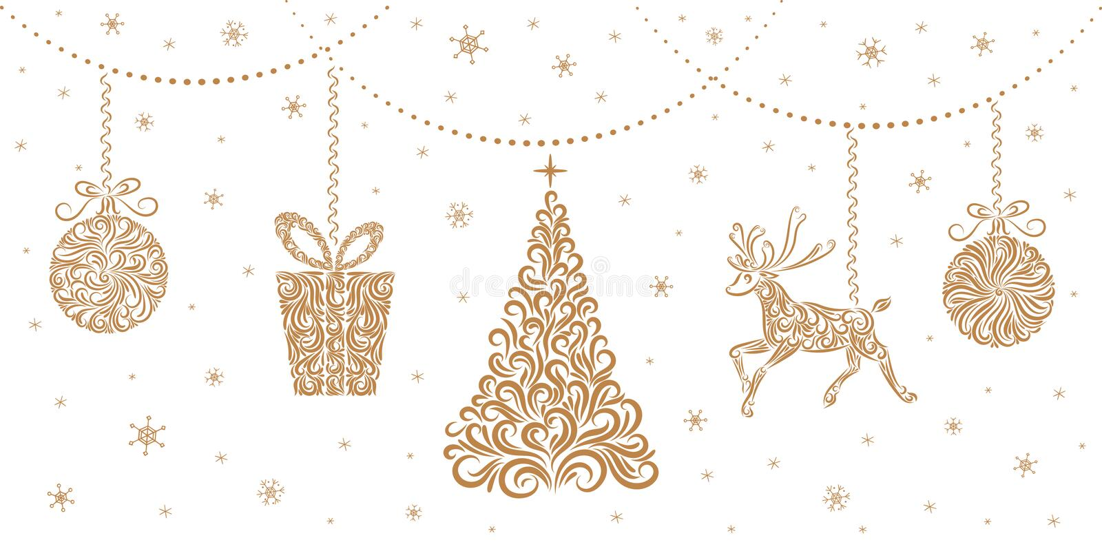 Christmas decorations: Christmas tree, reindeer, gift, Christmas balls. Isolated objects on a white background. vector illustration