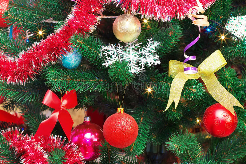 Christmas Decorations on a Christmas Tree. Toys on the Christmas tree royalty free stock images