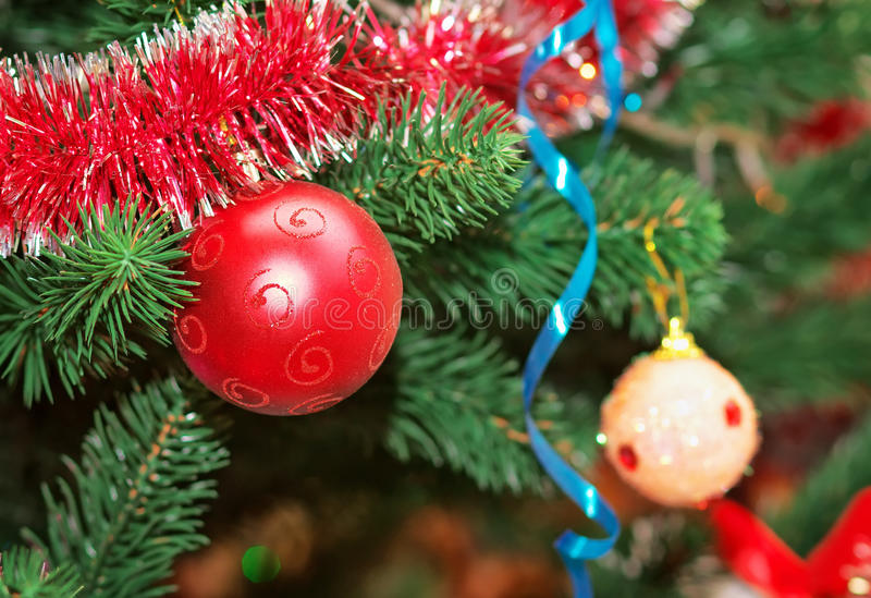 Christmas Decorations on a Christmas Tree. Toys on the Christmas tree royalty free stock photo