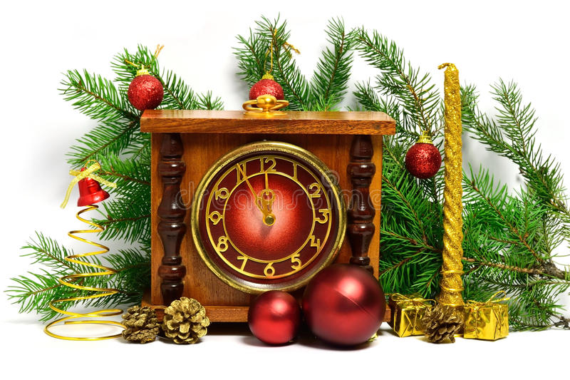 Christmas decorations with the clock. Photo shows Christmas decorations with the clock royalty free stock photos