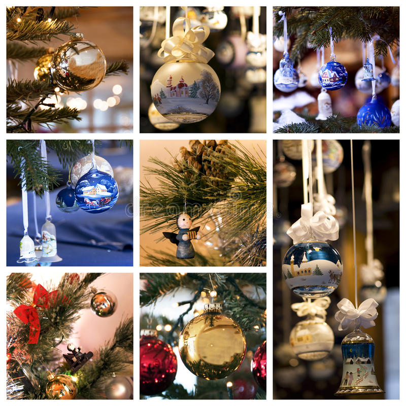 Christmas decorations collage. A collage of nine photos about Christmas decorations