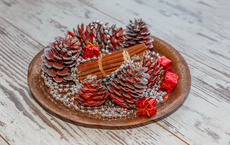 Christmas decorations of colored cones royalty free stock photography
