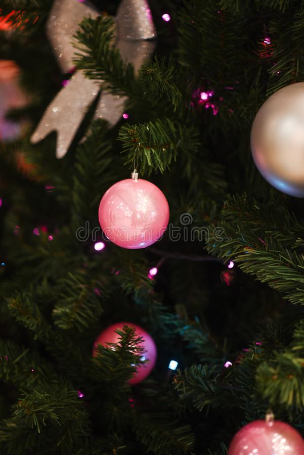 Christmas decorations. Composition  , Xmas toys, ivy leaves, Christmas tree branches. Close-up. stock photos