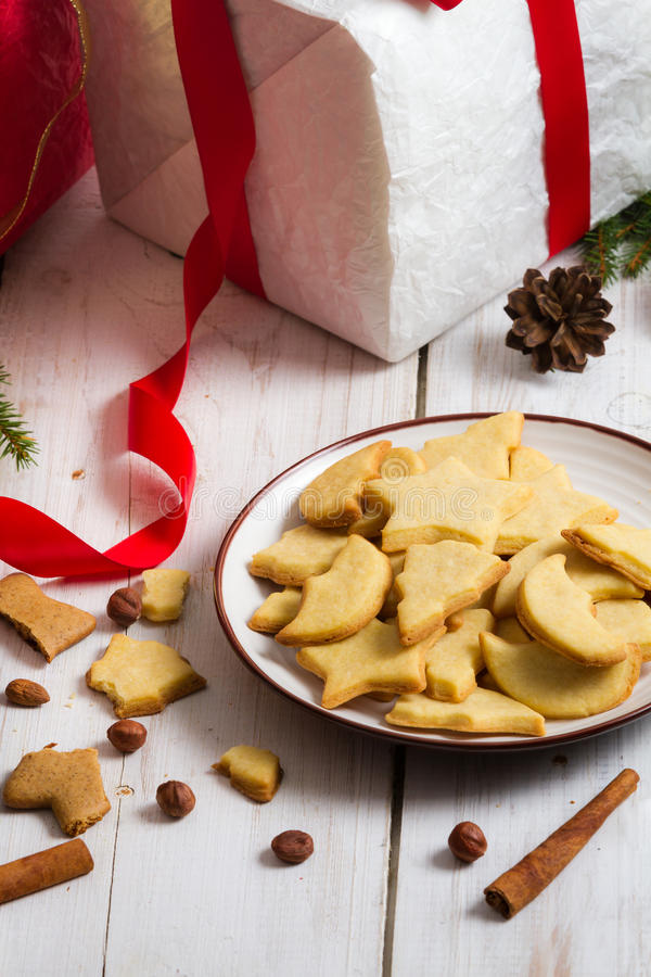 Christmas decorations and cookies Gift stock photography