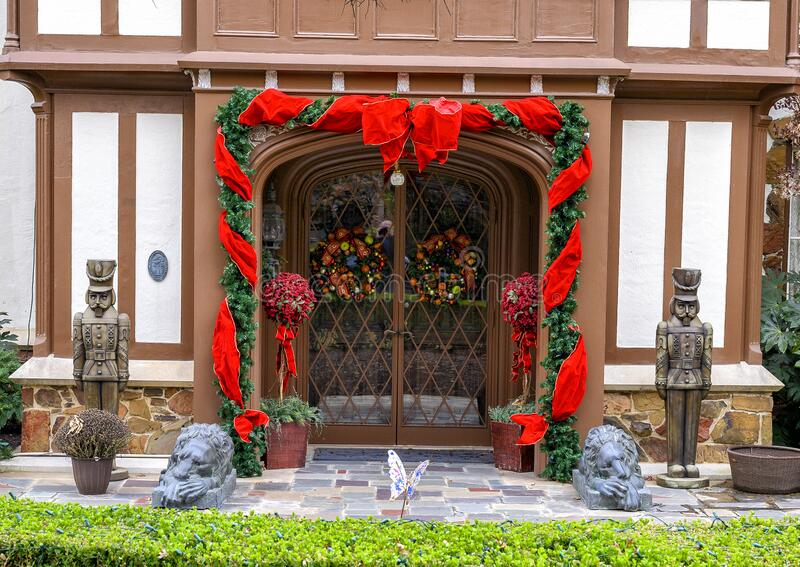Christmas decorations at the door of an historic home in Dallas, Texas. royalty free stock photography