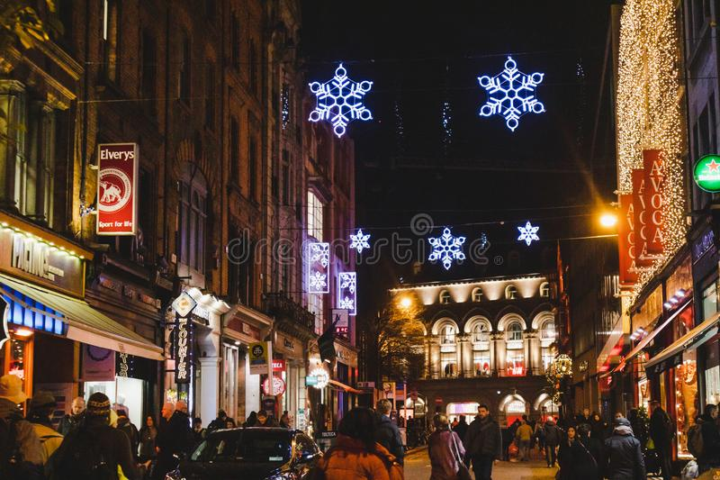 Irish Pub With Christmas Decorations In Dublin City Centre