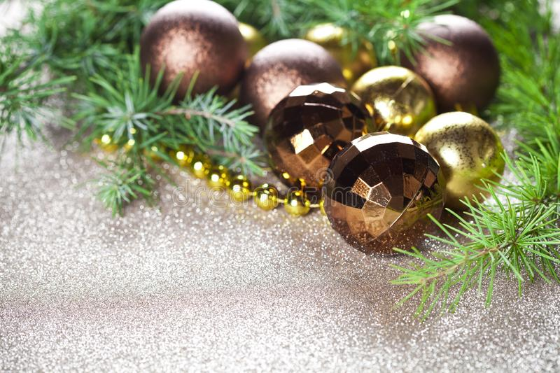 Christmas decorations and evergreen fir tree branch. royalty free stock image