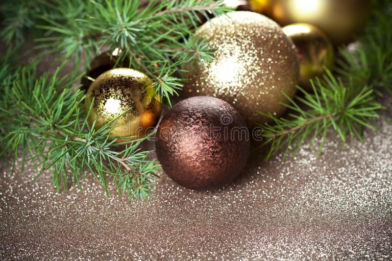Christmas decorations and evergreen fir tree. stock image