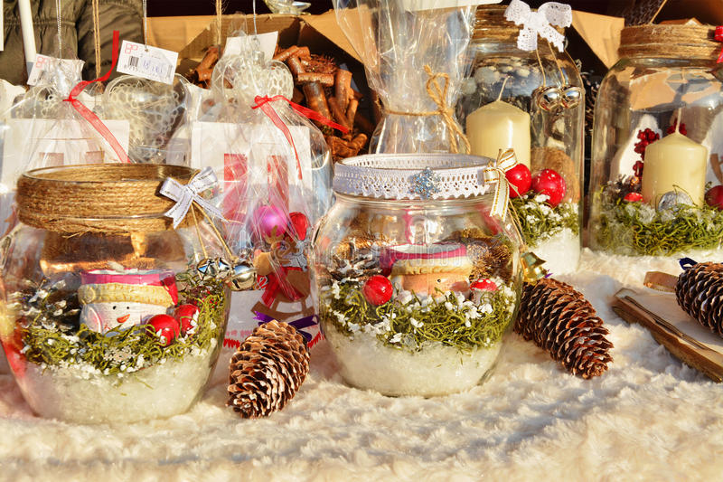 Christmas decorations, festive table centerpieces for sale. Christmas decorations, festive table centerpieces, gifts and souvenirs for sale at the Christmas stock images