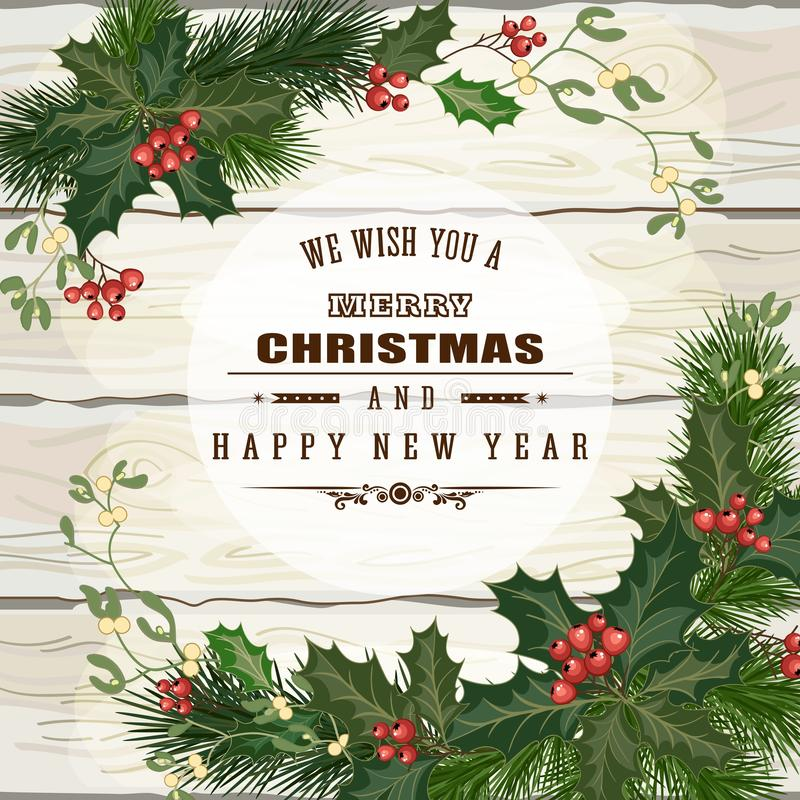 Christmas wooden background. Christmas decorations, fir tree branches and decorative elements on white wooden background. Vector illustration stock illustration