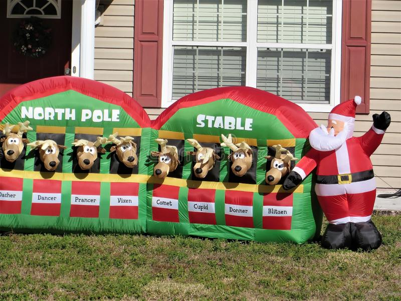 NEW Christmas 11 Inflatable Santa With Reindeer In North Pole Stable Outdoor Lawn Decoration