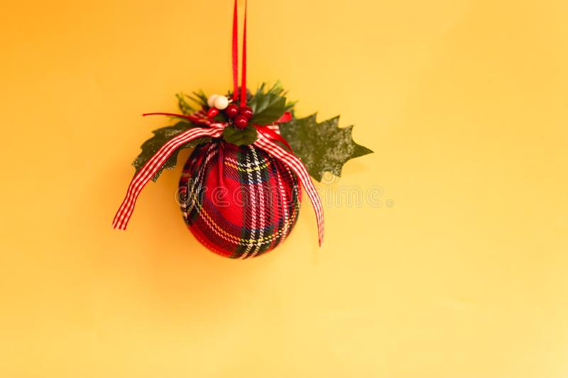 Christmas decorations for the Christmas tree on a colored background royalty free stock photos