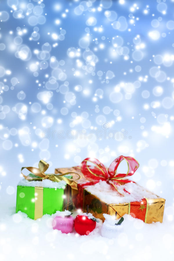Christmas decorations. Gift boxes. And balls royalty free stock images