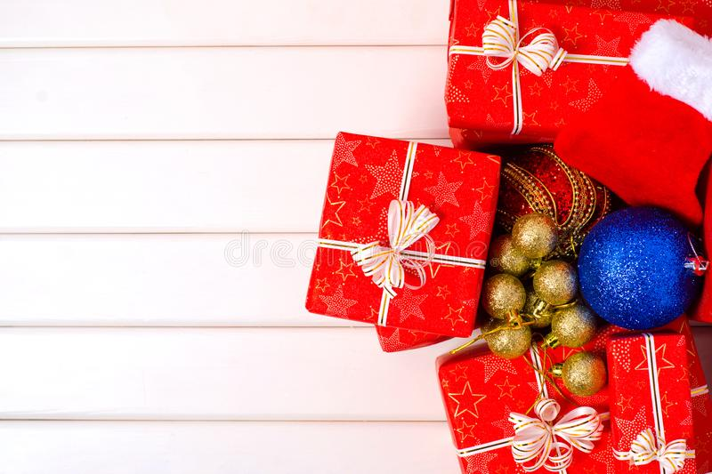 Christmas decorations gifts boxes stock photo