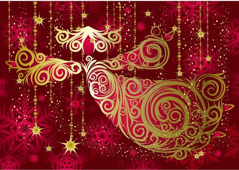 Christmas decorations. Gold angel. vector illustration