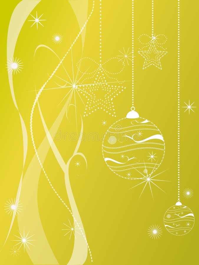 Christmas decorations on gold background stock image