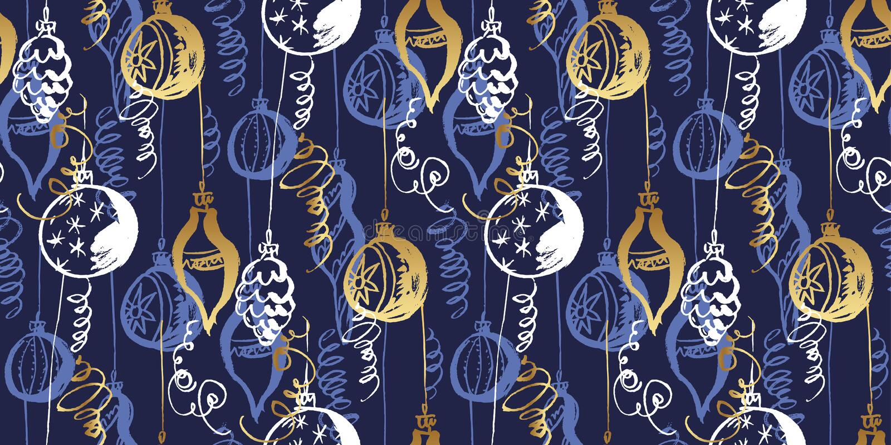 Christmas decorations hand drawn seamless pattern royalty free illustration