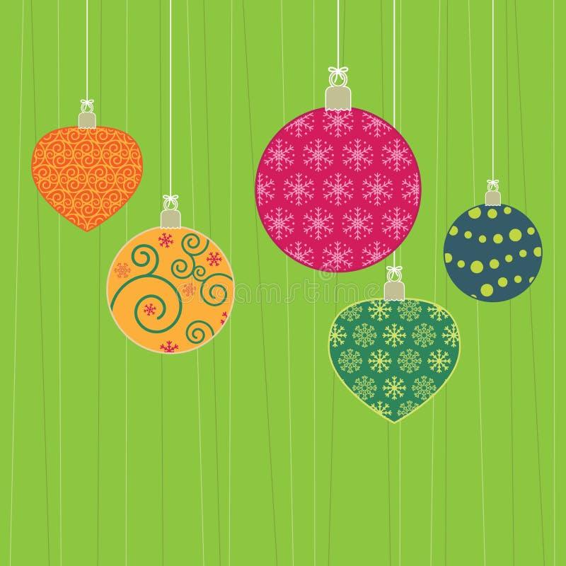 christmas decorations hanging иллюстрация вектора