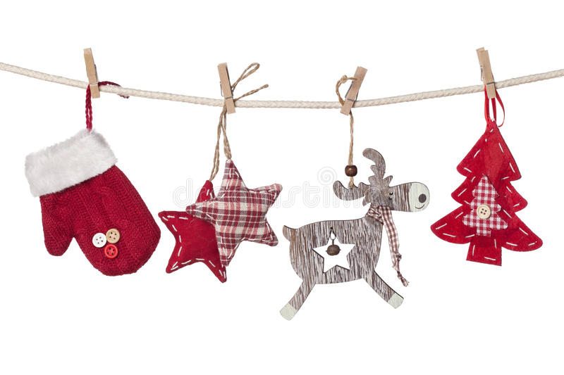 Christmas decorations hanging royalty free stock photo