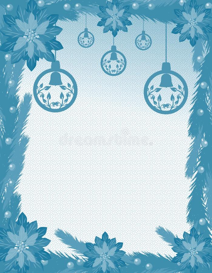 Christmas greeting card with decorations stock photo