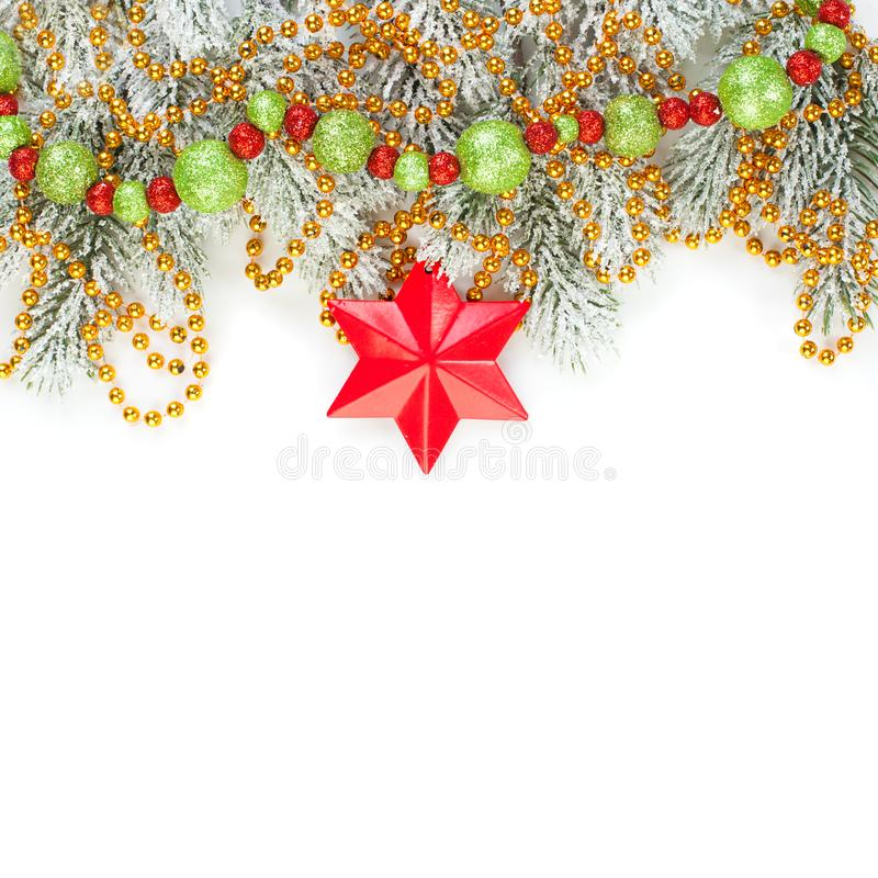 Christmas decorations isolated over white background. Merry Christmas card composition.  stock photos