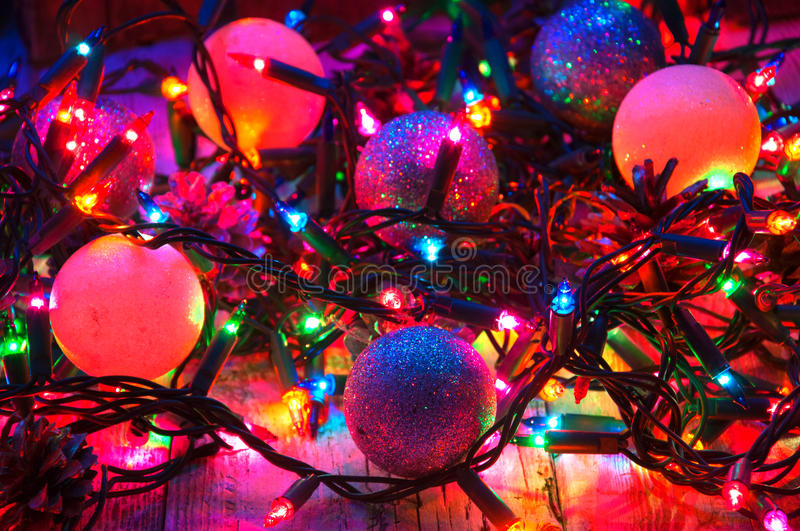 Christmas decorations and lights stock photo