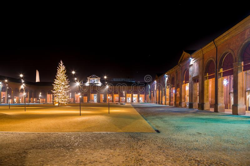 Christmas decorations and lights. In ancient portico royalty free stock photos