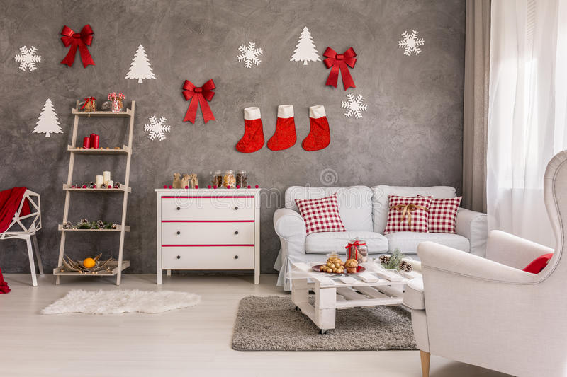 Christmas decorations in lounge stock photo