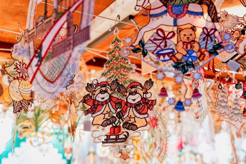 Christmas decorations, Christmas Market at Town Hall in Winter Berlin, Germany. Advent Fair and Stalls with Crafts Items on the. Bazaar royalty free stock photos