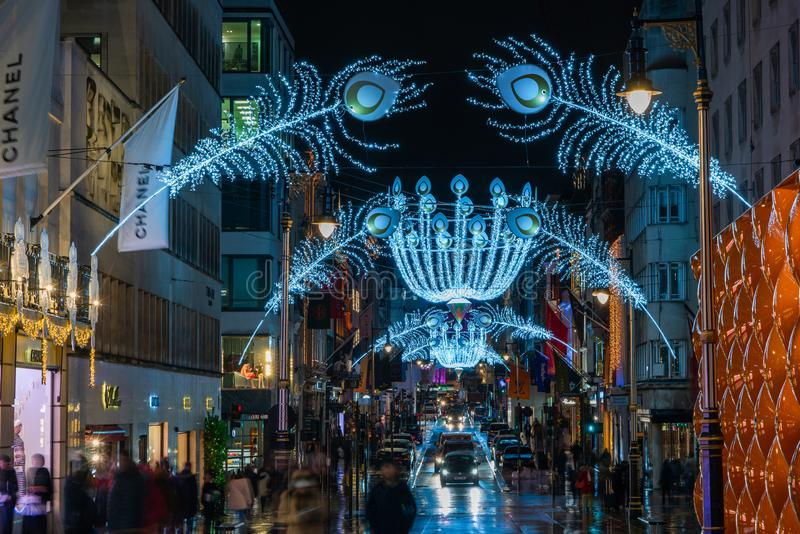 Christmas decorations in New Bond Street, London stock photos