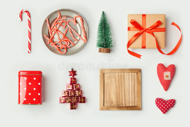 Christmas decorations and objects for mock up template design. View from above. Flat lay royalty free stock photos