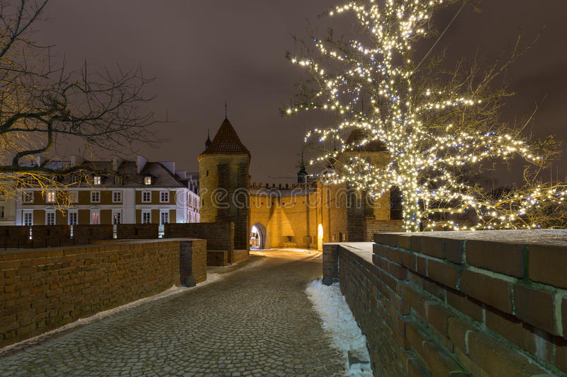 Download Christmas Decorations On The Old City In Warsaw. Stock Photo - Image: 83703570