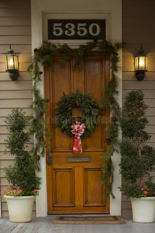 Free Christmas Decorations On New Orleans Door Royalty Free Stock Images - 202359289