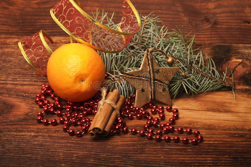 The Christmas decorations and ornament on wooden background royalty free stock photos