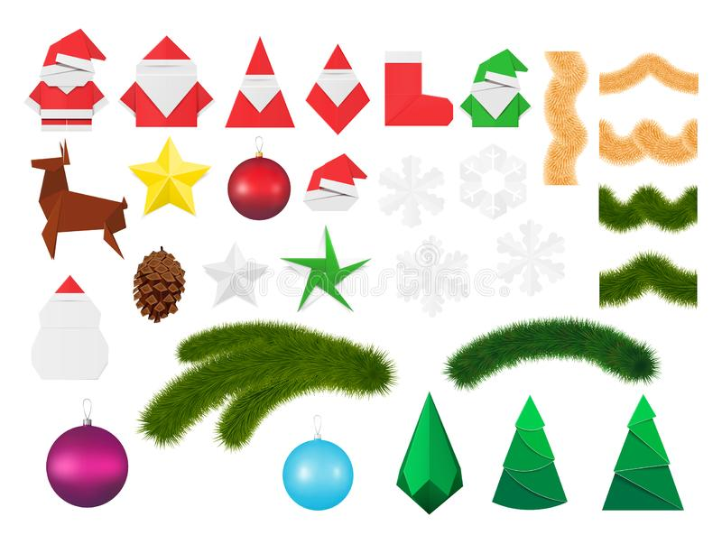 Christmas decorations and ornaments set. Festive elements including paper origami toys of Santa Claus and snowman, snowflake and e royalty free illustration