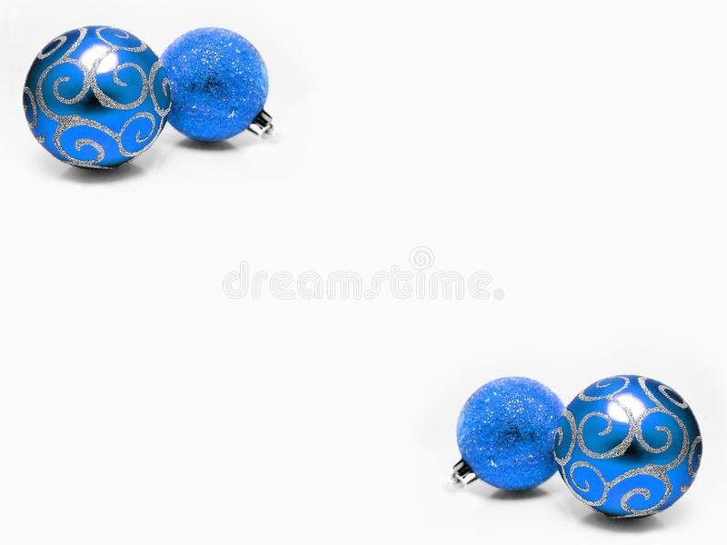 Christmas decorations ornaments shimmering blue and silver balls holidays Xmas background stock image