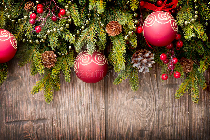 Christmas Decorations over Wood royalty free stock images