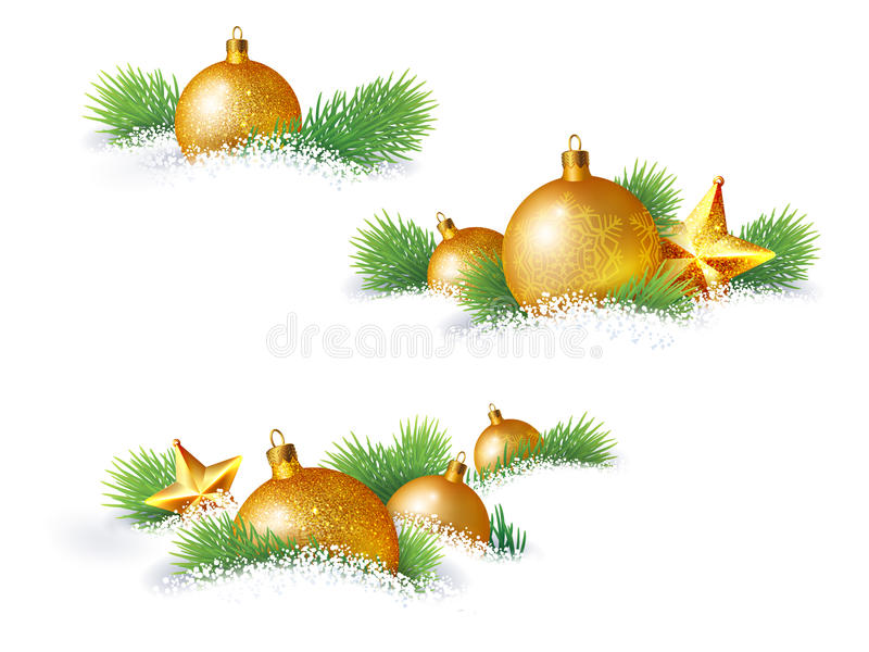 Christmas decorations and pine branches. Which lie in the snow vector illustration