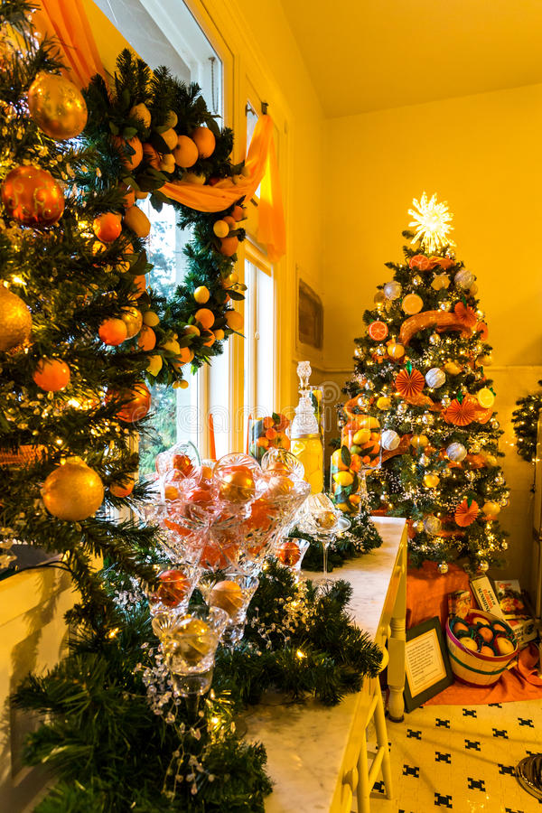 Christmas Decorations in Pittock Mansion stock photos
