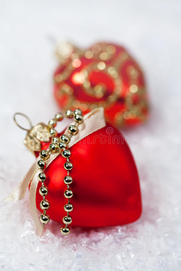 Christmas decorations red hears stock photos