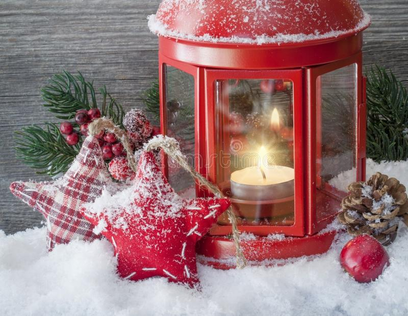 Christmas decorations and red lantern stock photo
