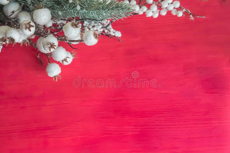 Christmas decorations on a red wooden background. White, berries, xmas, tree, holiday, copy, space, ornament, branch, new, year, celebration, color, design royalty free stock images