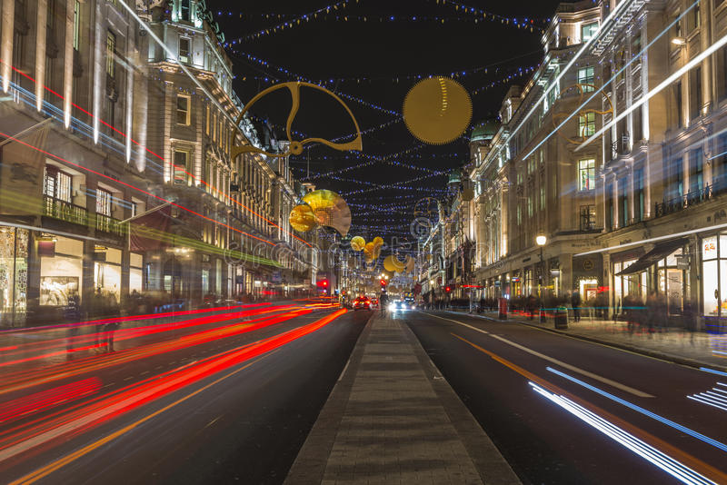Christmas decorations in Regent's Street. London royalty free stock photos